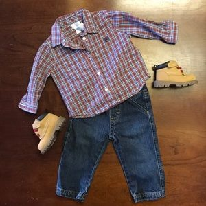 Wrangler jeans with chaps dress shirt